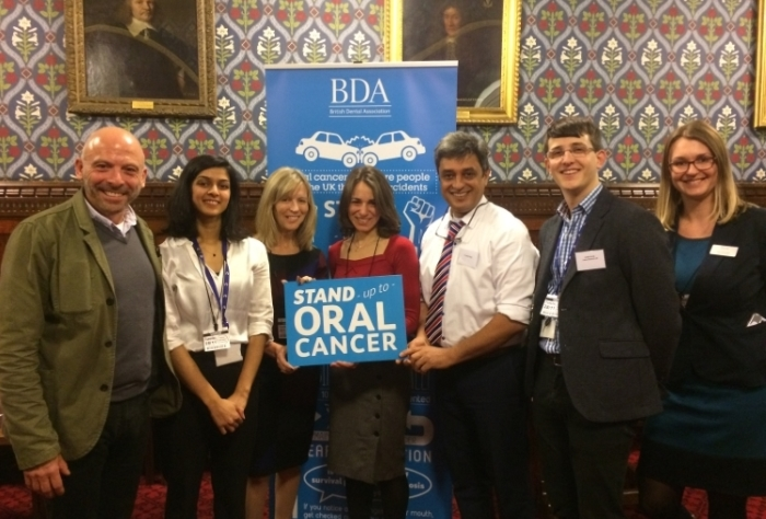BDA and Cancer Research UK staff with oral cancer survivors Steve and Nikki and Dr Jayesh Patel