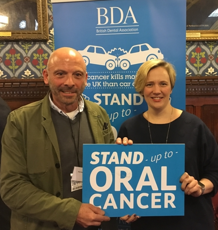 Stella Creasy MP with Steve who recently recovered from oral cancer